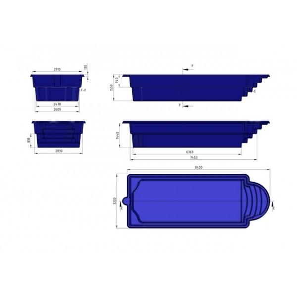 Prix piscine coque prix canon 8m40x3m20x1m55 for Piscine coque rectangulaire pas cher