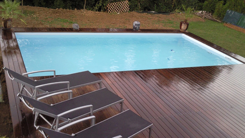 Piscine en bois rectangulaire enterrable shangai 8mx4m for Piscine hors sol bois semi enterree