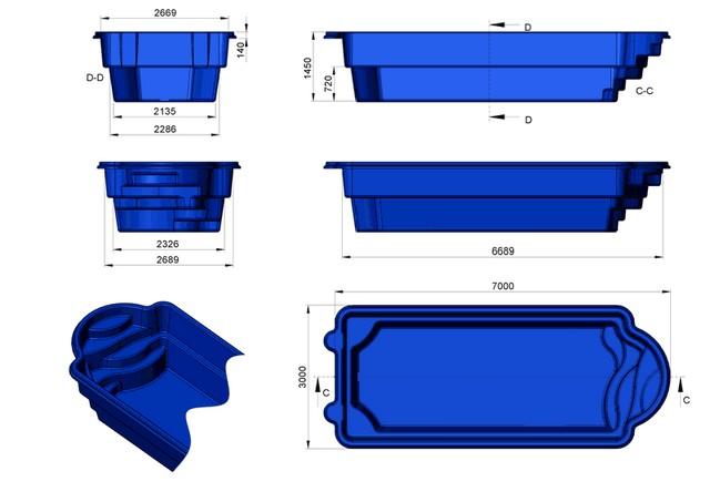 Prix piscine coque prix canon 7mx3mx1m45 for Constructeur piscine coque