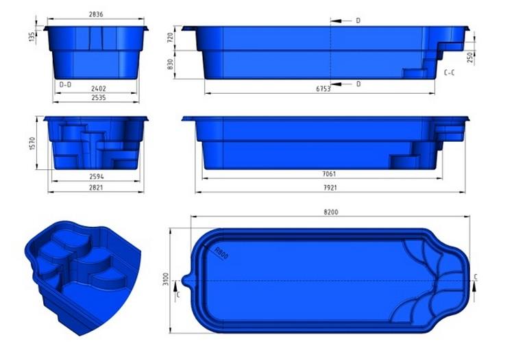 Prix piscine coque prix canon 8m20x3m10x1m55 for Fabricant piscine coque