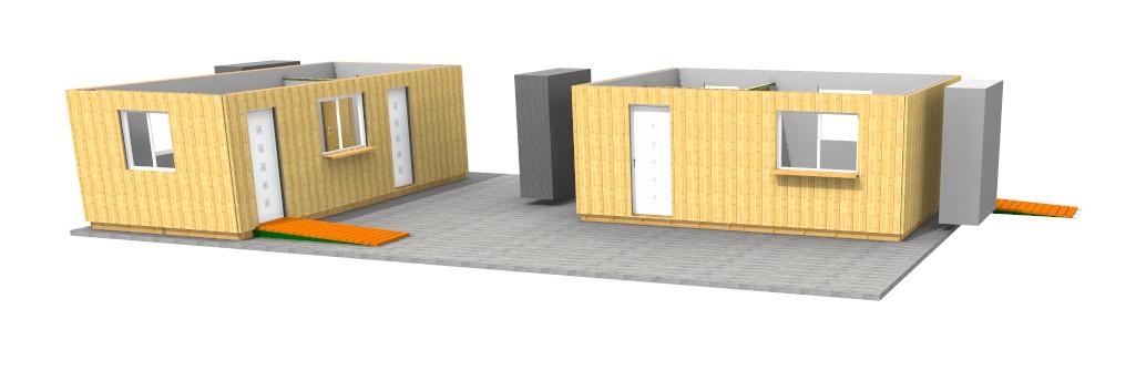 Montage containers bureaux en bois morzine haute savoie for Container en bois
