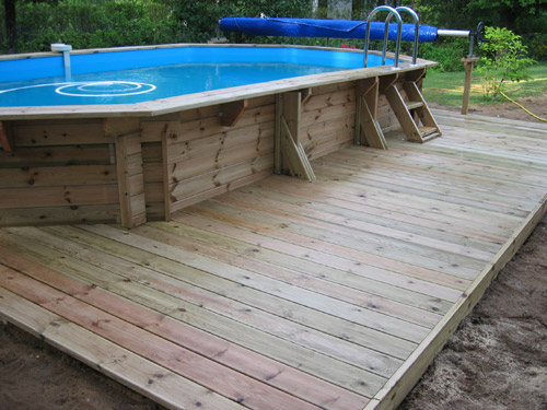 Photo piscine amenagement plage en bois - Amenagement piscine hors sol photo besancon ...