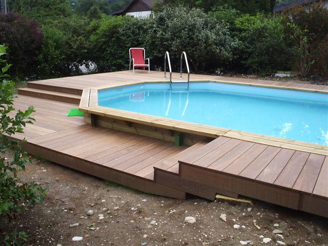 Photo piscine amenagement terrasse bois for Amenagement piscine hors sol bois