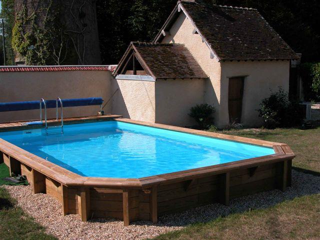 Photo piscine piscine bois demi octogonale - Liner piscine hors sol octogonale ...